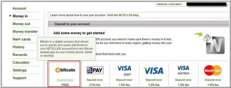 Bitcoin accepted in Neteller as deposit method