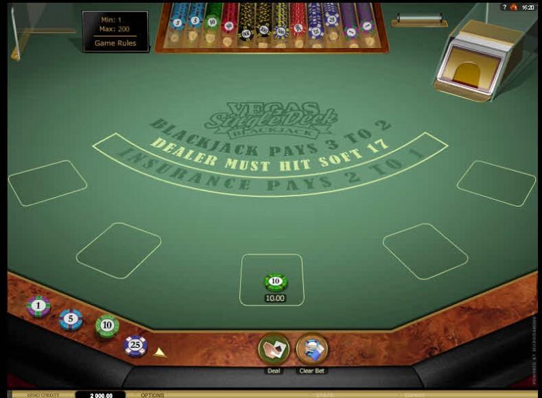 Vegas Single Deck Blackjack Gold MCPcom Microgaming