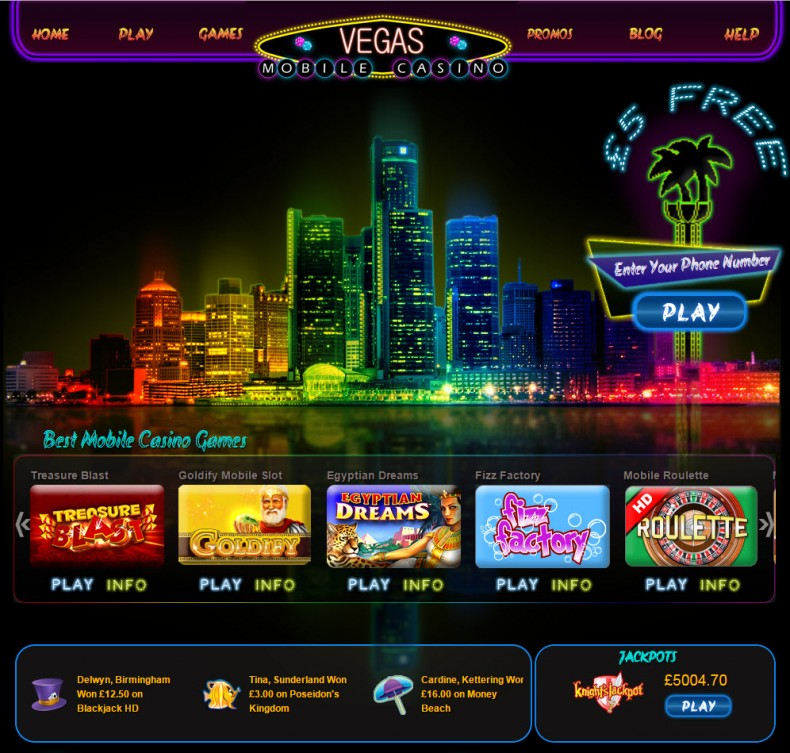 Vegas Mobile Casino Homepage