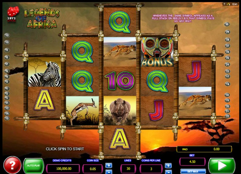 Legends of Africa Video slots by 2By2 Gaming MCPcom
